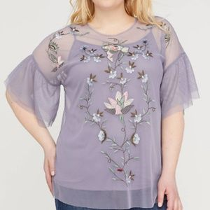 Lane Bryant Embroidered Mesh Ruffle-Sleeve Top